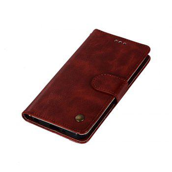Extravagant Retro Fashion Flip Leather Case PU Wallet Cover Cases For LG Q6A / Q6 Plus Phone Bag with Stand - WINE RED