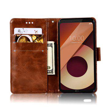 Extravagant Retro Fashion Flip Leather Case PU Wallet Cover Cases For LG Q6A / Q6 Plus Phone Bag with Stand - BROWN