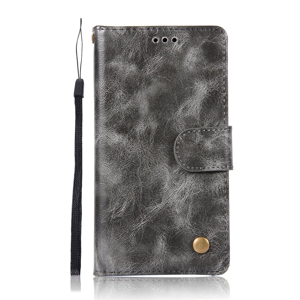 Extravagant Retro Fashion Flip Leather Case PU Wallet Cover Cases For LG Q6A / Q6 Plus Phone Bag with Stand - GRAY