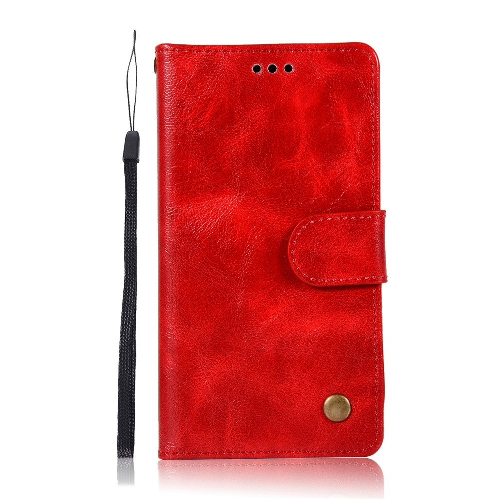 Extravagant Retro Fashion Flip Leather Case PU Wallet Cover Cases For LG Q6A / Q6 Plus Phone Bag with Stand - RED