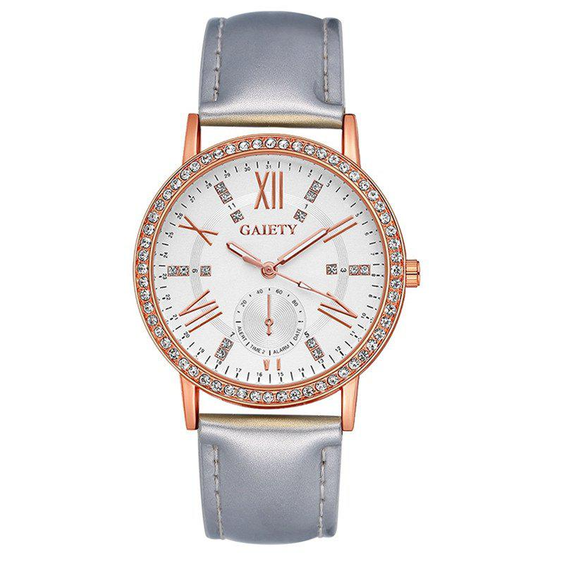 GAIETY G078 Ladies Fashion Leather Wristwatch - SILVER