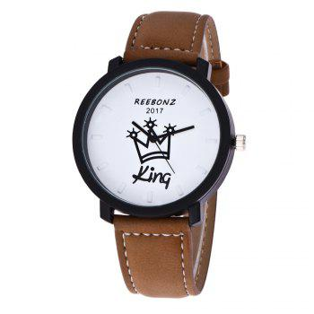 REEBONZ Fashion Leisure Personality KING QUEEN Quartz Watch -  BROWN