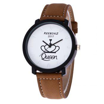 REEBONZ Fashion Leisure Personality KING QUEEN Quartz Watch -  WHITE