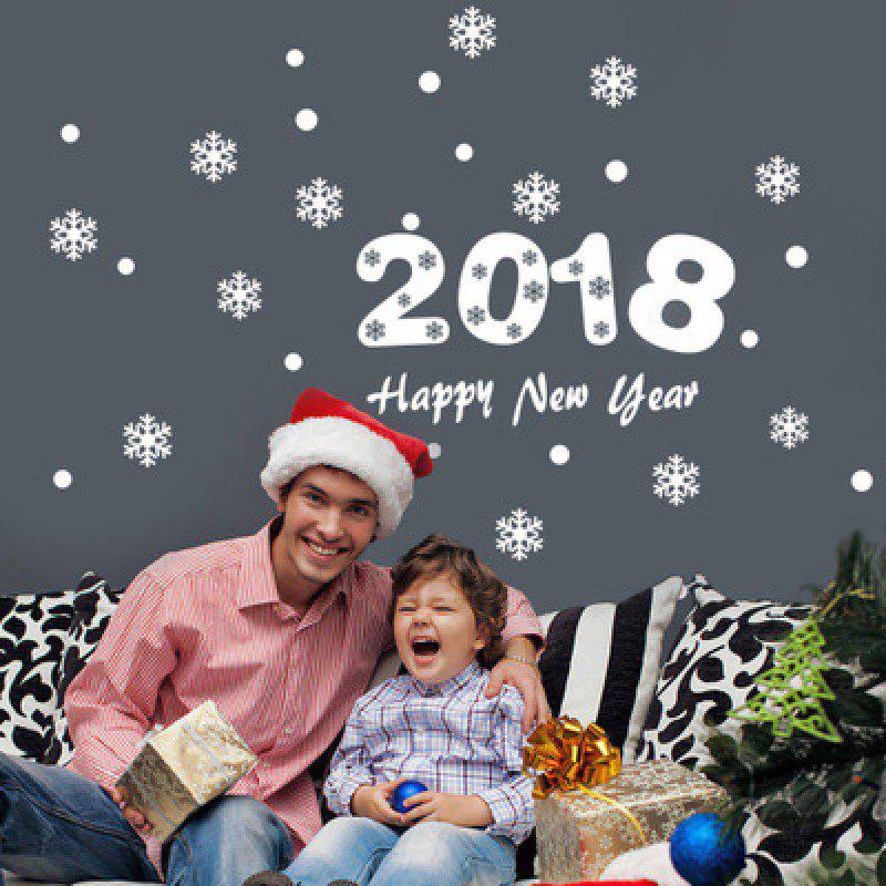 YEDUO 2018 Happy New Year Christmas Snowflake Wall Sticker - WHITE