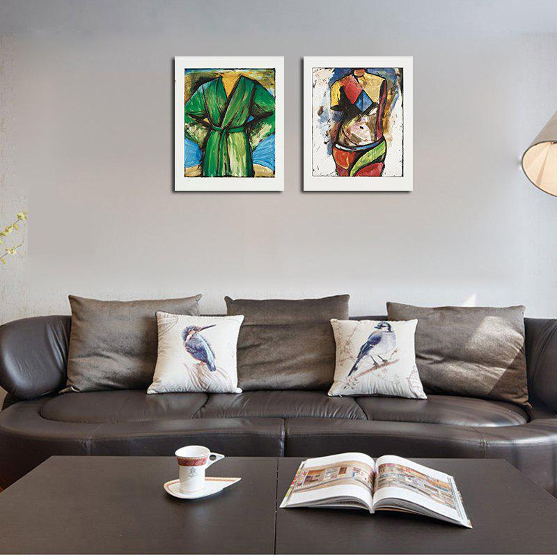 QiaoJiaHuaYuan No Frame Canvas Abstract Two Living Room Decoration Paintings - COLORMIX