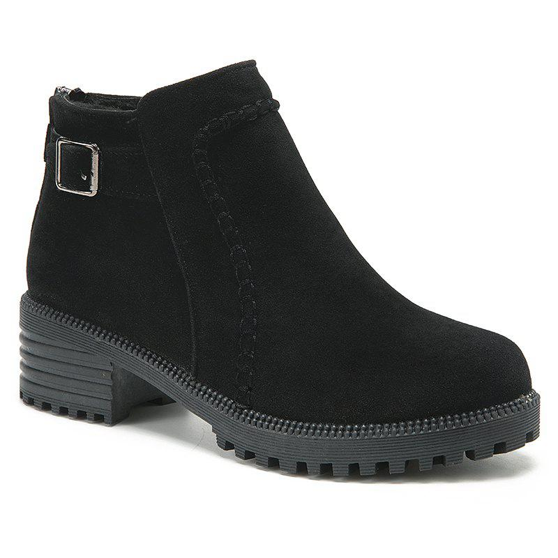 ZTA189-1 Shoes with Velvet Matte Toe Wear Sole Solid Short Tube with Chelsea Boots - BLACK 40