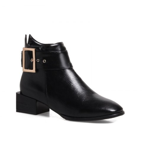 Women Shoes Zip Square Toe Low Heel Ankle Boots - BLACK 37