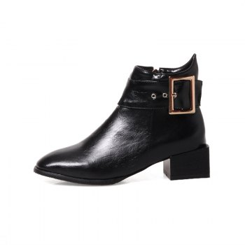 Women Shoes Zip Square Toe Low Heel Ankle Boots - BLACK BLACK