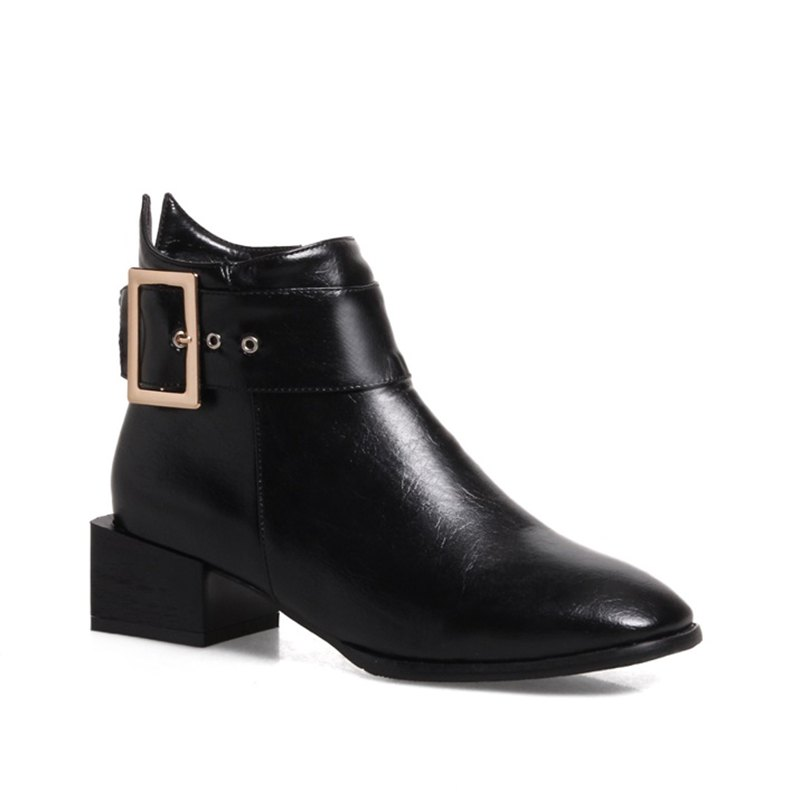 Women Shoes Zip Square Toe Low Heel Ankle Boots - BLACK 42
