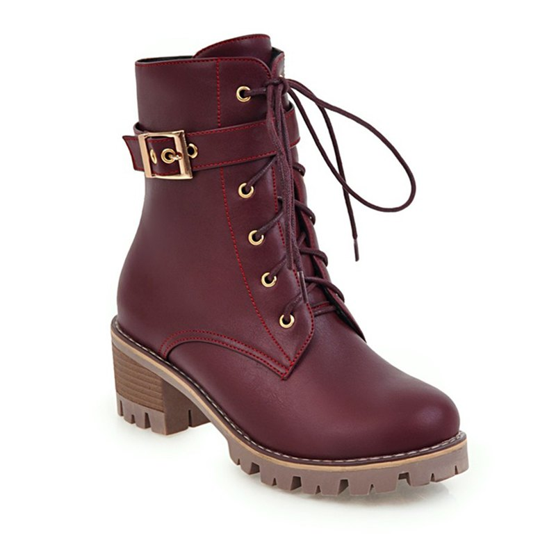 Women Shoes Lace-up ZipChunky Heel Combat Boots - BURGUNDY 36