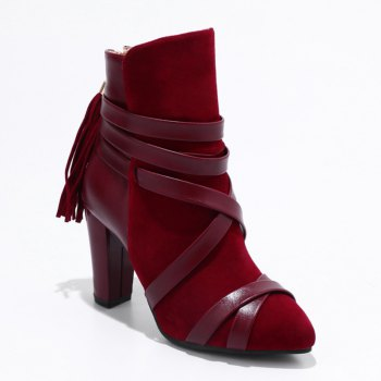 Women Shoes Zip Chunky Heel Pointed Toe Fashion Boots - RED RED