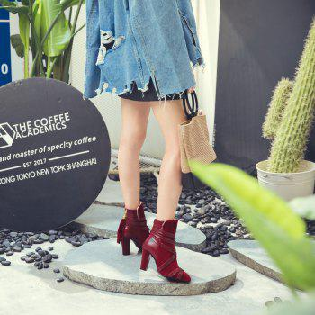 Women Shoes Zip Chunky Heel Pointed Toe Fashion Boots - RED 39