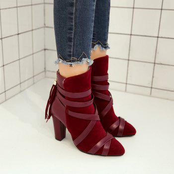 Women Shoes Zip Chunky Heel Pointed Toe Fashion Boots - RED 35