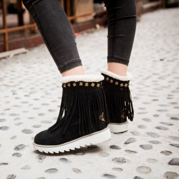 Women Shoes Round Toe Platform Tassel Snow Boots - BLACK BLACK