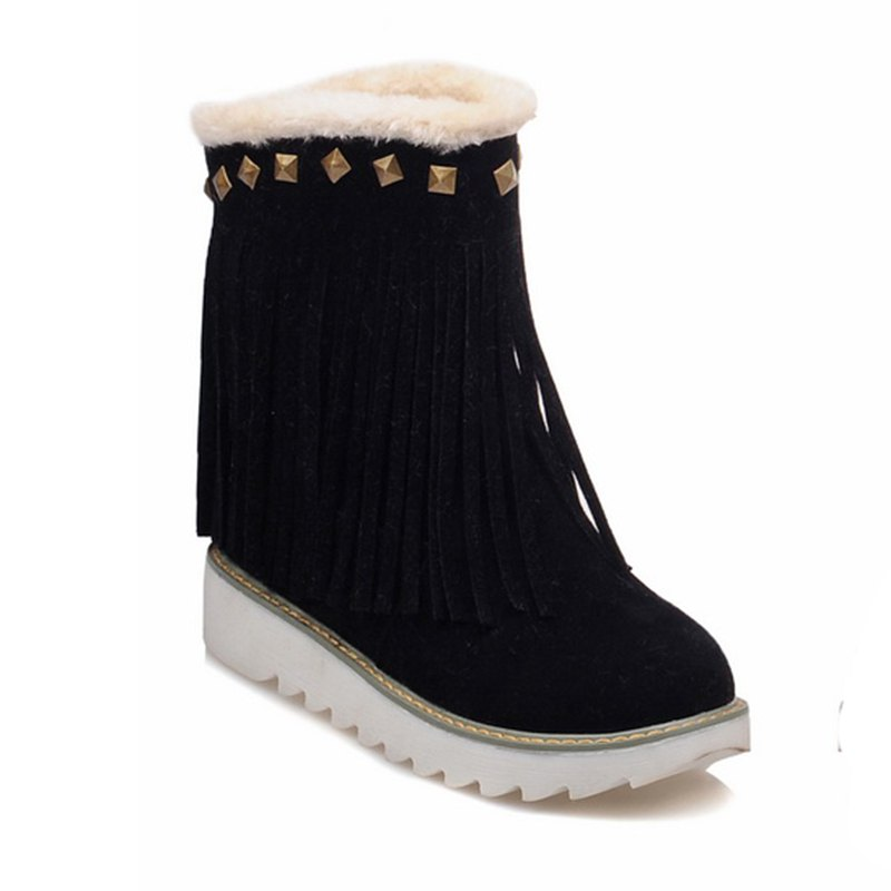 Women Shoes Round Toe Platform Tassel Snow Boots - BLACK 34