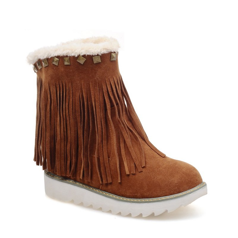 Women Shoes Round Toe Platform Tassel Snow Boots - BROWN 43
