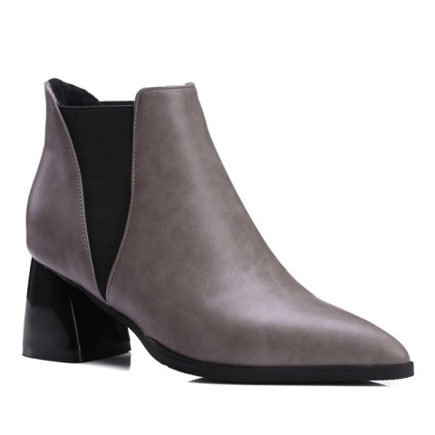 Women Shoes Slip-On Chunky Heel Pointed Toe Concise Boots - GRAY 37
