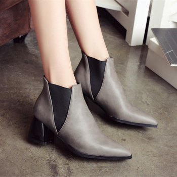 Women Shoes Slip-On Chunky Heel Pointed Toe Concise Boots - GRAY GRAY