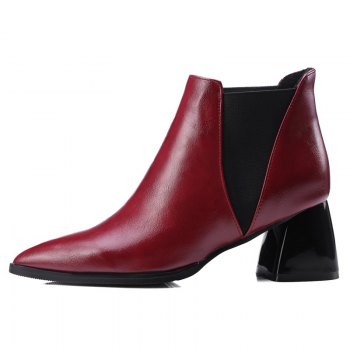 Women Shoes Slip-On Chunky Heel Pointed Toe Concise Boots - RED RED