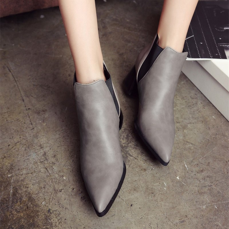 Women Shoes Slip-On Chunky Heel Pointed Toe Concise Boots - GRAY 36