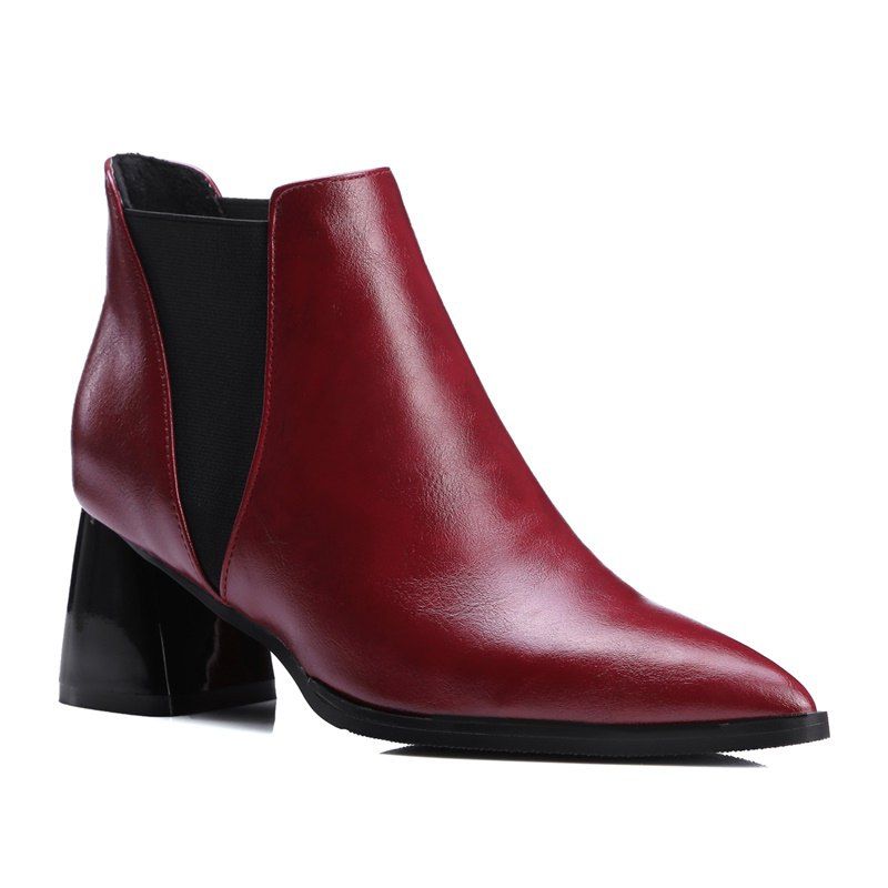 Women Shoes Slip-On Chunky Heel Pointed Toe Concise Boots - RED 43