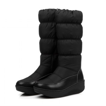 Women Shoes Nylon Zip Round Toe Snow Boots - BLACK 41