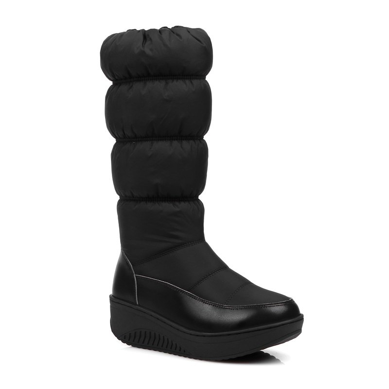 Women Shoes Nylon Zip Round Toe Snow Boots - BLACK 40