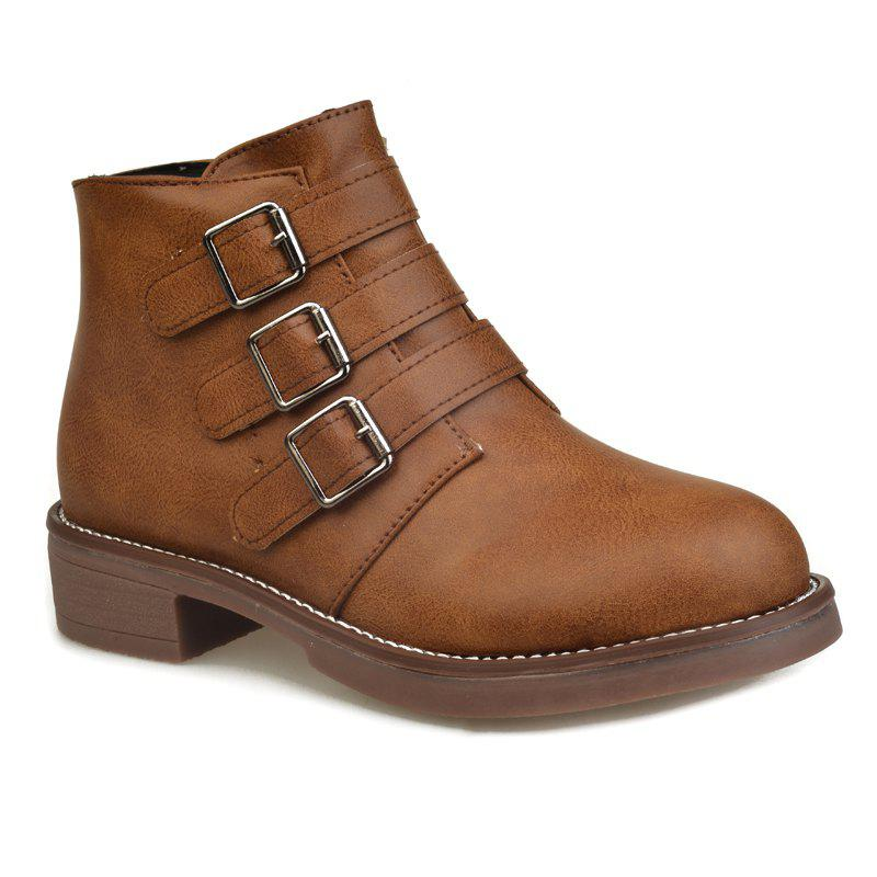 Women Shoes Round Toe Low Heel Zip Motorcycle Boots - BROWN 36