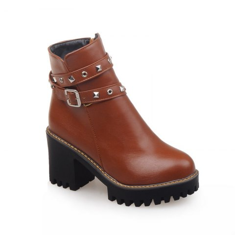 Women Shoes Round Toe Zip Chunky Heel Booties - BROWN 33