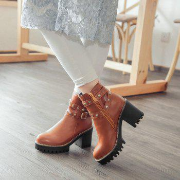 Women Shoes Round Toe Zip Chunky Heel Booties - BROWN BROWN