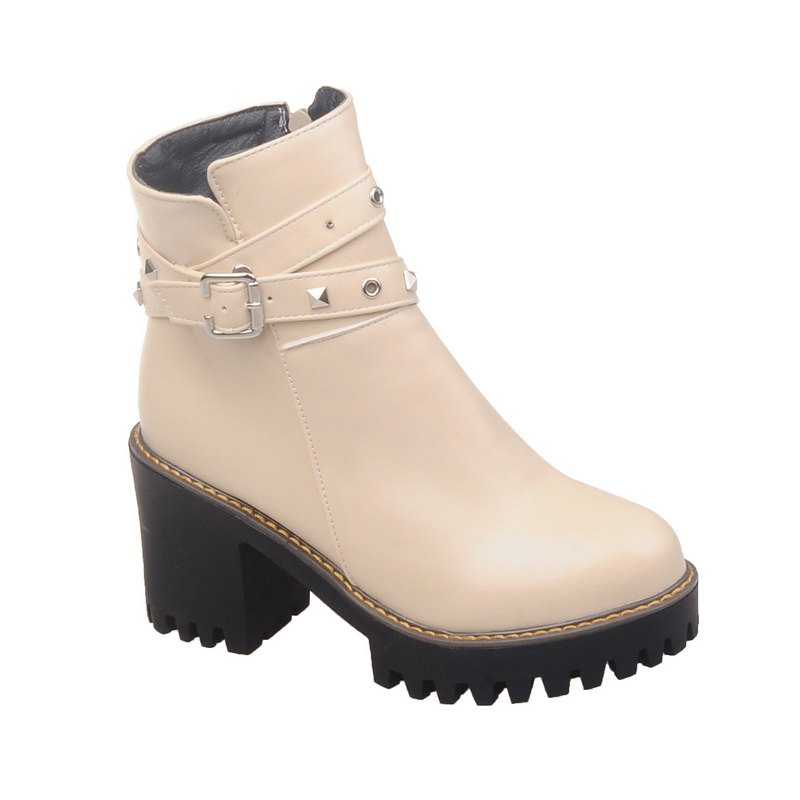 Women Shoes Round Toe Zip Chunky Heel Booties - BEIGE 41