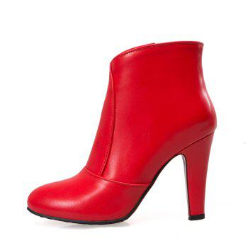 Women Zip Round Toe Chunky Heel Ankle Boots - RED RED