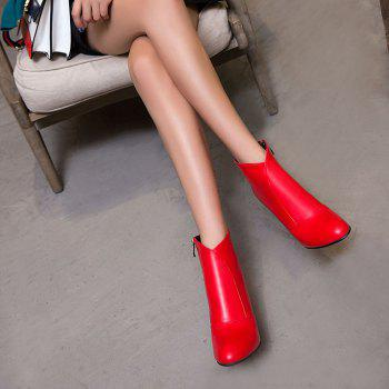 Women Zip Round Toe Chunky Heel Ankle Boots - RED 34