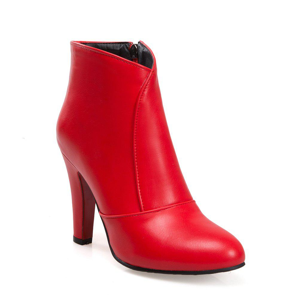 Women Zip Round Toe Chunky Heel Ankle Boots - RED 40