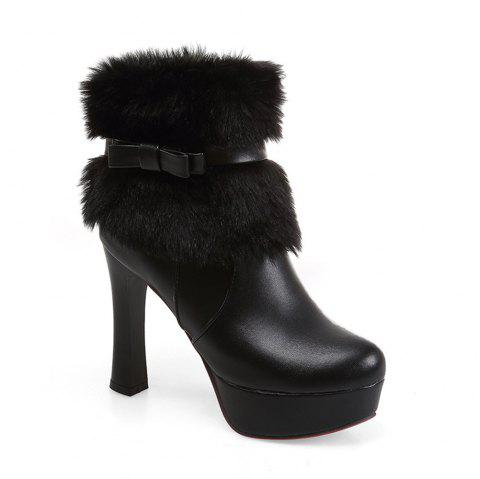 Women Shoes Round Toe Sweet Bowtie Ankle Boots - BLACK 34