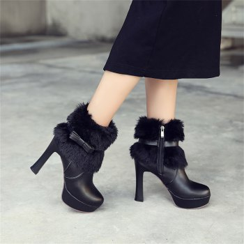 Women Shoes Round Toe Sweet Bowtie Ankle Boots - BLACK 37