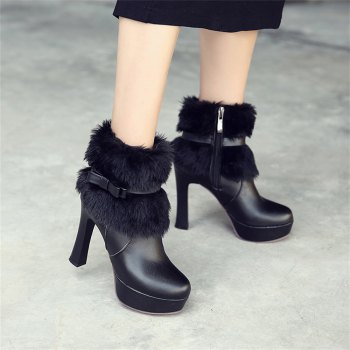 Women Shoes Round Toe Sweet Bowtie Ankle Boots - BLACK BLACK