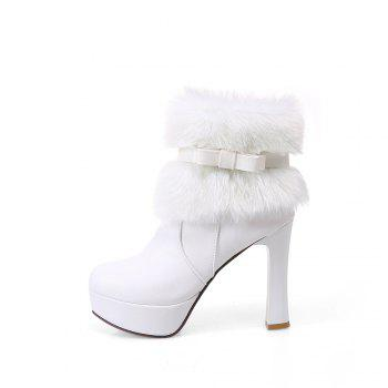 Women Shoes Round Toe Sweet Bowtie Ankle Boots - WHITE WHITE