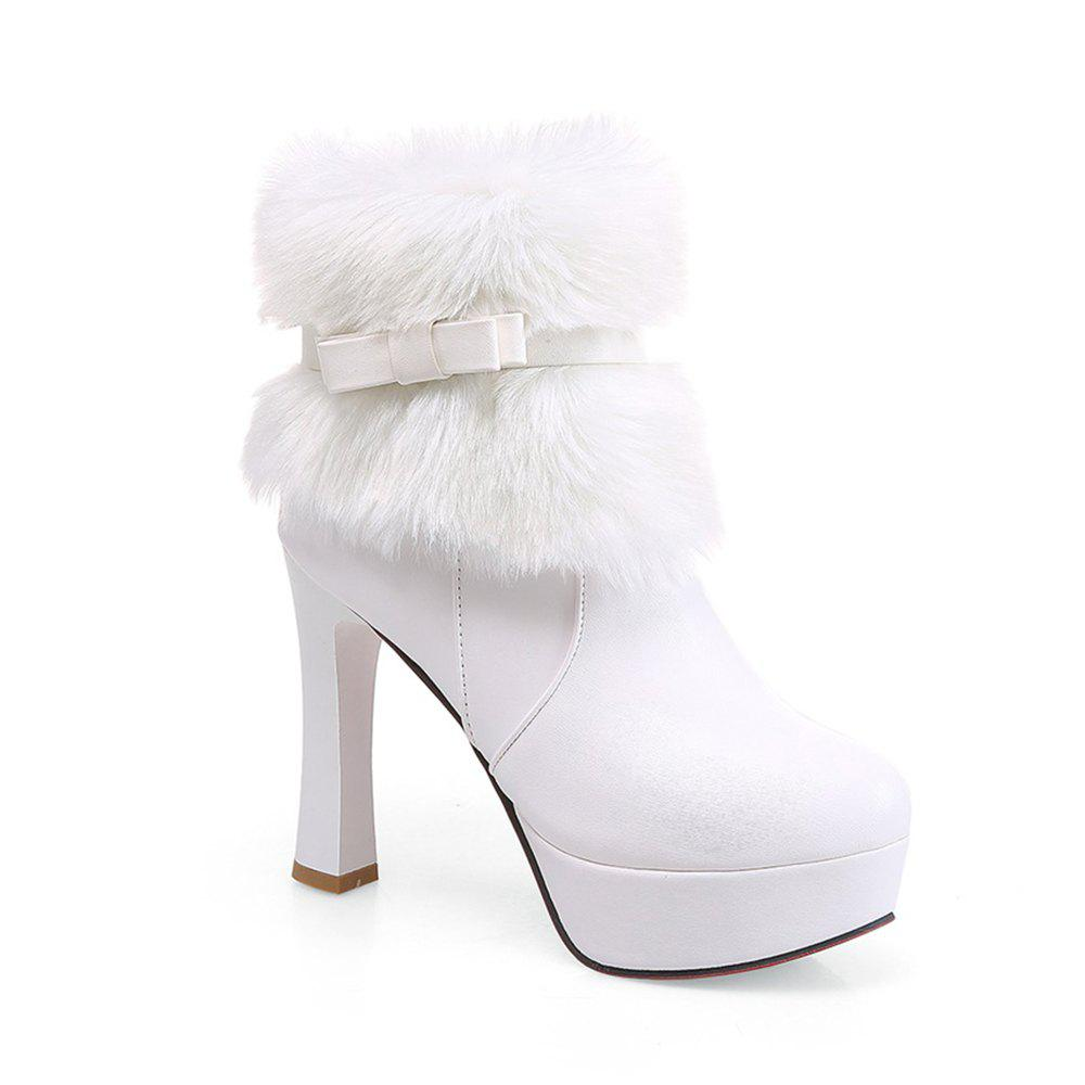 Women Shoes Round Toe Sweet Bowtie Ankle Boots - WHITE 43