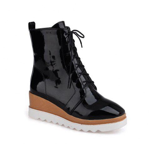 Women Shoes Patent Leather Lace-Up Wedge Heel Square Toe Fashion Boots - BLACK 40