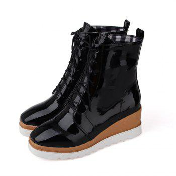 Women Shoes Patent Leather Lace-Up Wedge Heel Square Toe Fashion Boots - BLACK BLACK