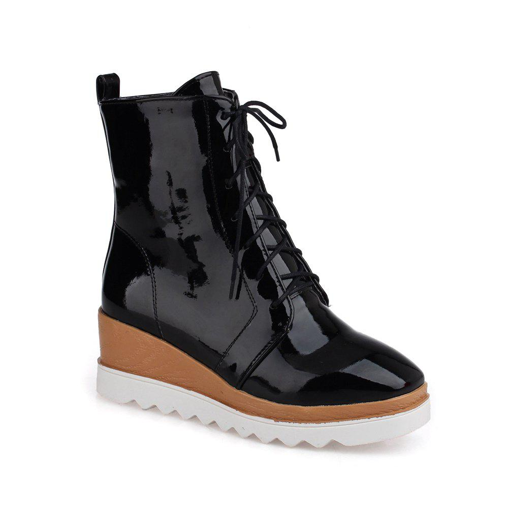 Women Shoes Patent Leather Lace-Up Wedge Heel Square Toe Fashion Boots - BLACK 39