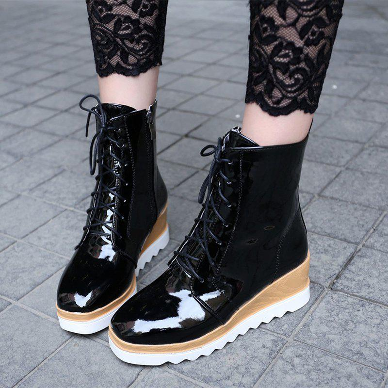 Women Shoes Patent Leather Lace-Up Wedge Heel Square Toe Fashion Boots - BLACK 42