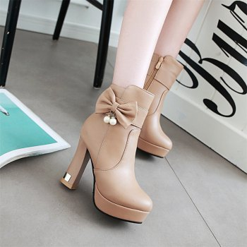 Women Shoes Pearl Bowtie Zip Round Toe Platform Ankle Boots - YELLOW 34