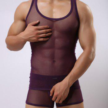 Super Thin Net Gauze Men's Vest Breathable Mesh Tank Top Sexy Transparent Vest - PURPLE PURPLE
