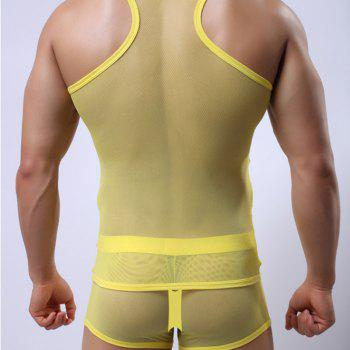 Super Thin Net Gauze Men's Vest Breathable Mesh Tank Top Sexy Transparent Vest - YELLOW XL