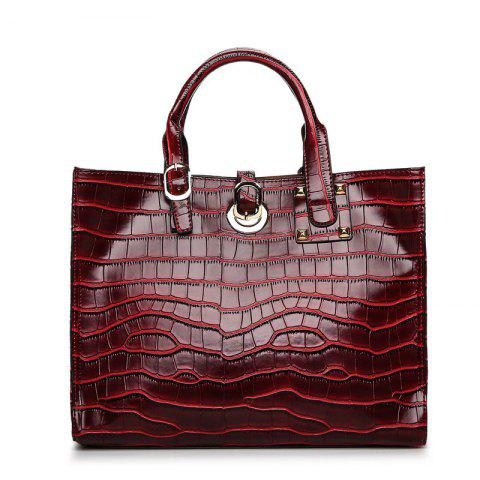 Fashion Crocodile Lines Clasp Hands The Bill of Lading Shoulder Bag - WINE RED