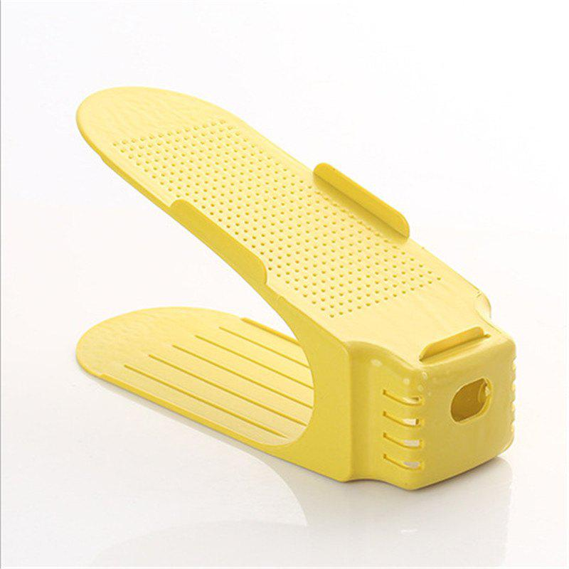Integral Simple Plastic Double-layer Adjustable Shoe Rack - YELLOW 25CM X 10CM X 14CM