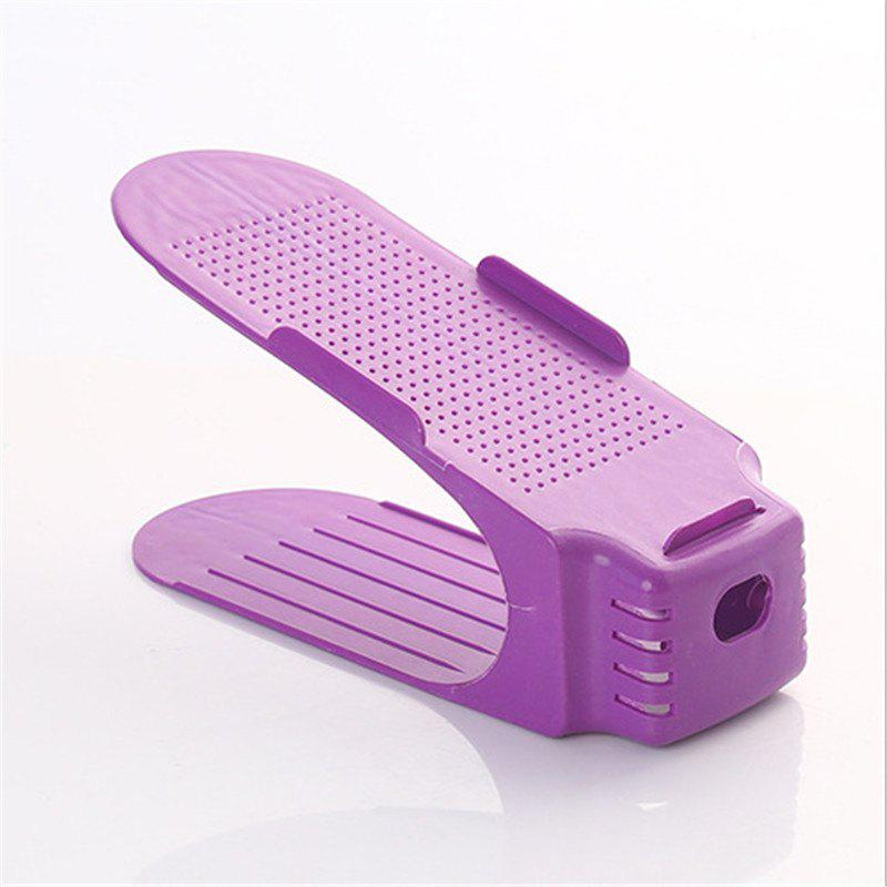 Integral Simple Plastic Double-layer Adjustable Shoe Rack - PURPLE 25CM X 10CM X 14CM