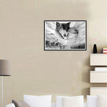 NAIYUE 9537 Two Wolf Animal Print Draw Diamond Painting Diamond Embroidery - GRAY